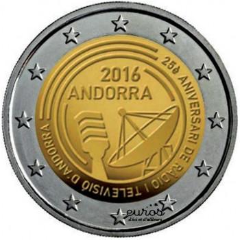 2 euros commémorative ANDORRE 2016 - 25e anniversaire de la création de la radio et de la télévision publique de la Principauté