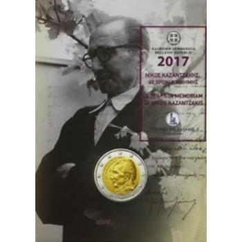 Coincard 2 euros commémoratif GRECE 2017 - Nikos Kazantzakis