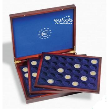 Coffret Numismatique VOLTERRA TRIO de Luxe, avec 3 plateaux de 35 cases chacun pour pièces de 2 euros sous capsules