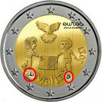 2 euros commémorative MALTE 2017 - La Paix - Poinçon de la Monnaie de Paris