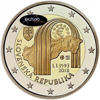 2 euros commémorative SLOVAQUIE 2018 - 25ème ann. Création de la République Slovaque - UNC