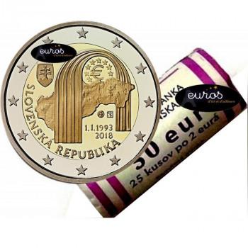 Rouleau 25 x 2 euros commémoratives SLOVAQUIE 2018 - 25ème anniversaire de la Création de la République Slovaque