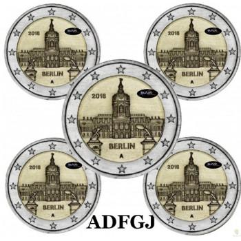 5 x 2 euros commémoratives ALLEMAGNE 2018 - Berlin, Château de Charlottenburg - ADFGJ- UNC