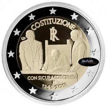 Coincard 2 euros commémoratif ITALIE 2018 - 70 ans Constitution Italienne - Brillant Universel