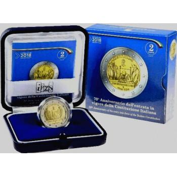 2 euros commémorative ITALIE 2018 - 70 ans Constitution Italienne - Belle Epreuve