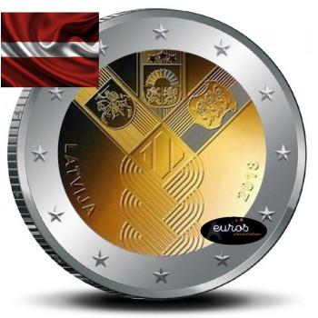 2 euros commémorative commune LETTONIE 2018 - Centenaire de l'Indépendance des Etats Baltes - UNC