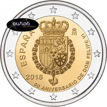 2 euros commémorative ESPAGNE 2018 - 50ème anniversaire du Roi FELIPE VI - UNC