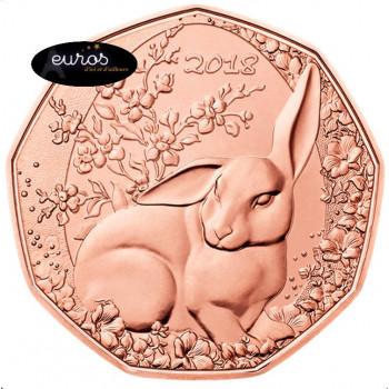 5 euros commémorative AUTRICHE 2018 en cuivre - Le Lapin de Paques, Easter Bunny