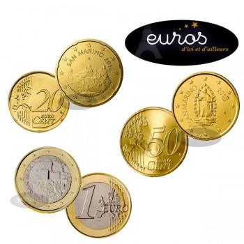 Trio 0,20 + 0,50 et 1 euro SAINT MARIN 2018 - UNC