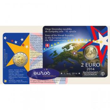 Coincard 2 euros commémorative SLOVAQUIE 2014 - 10ième ann. de l'entrée dans l'UE