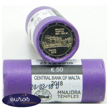 Rouleau 25 x 2 euros MALTE 2018 - Mnajdra - UNC