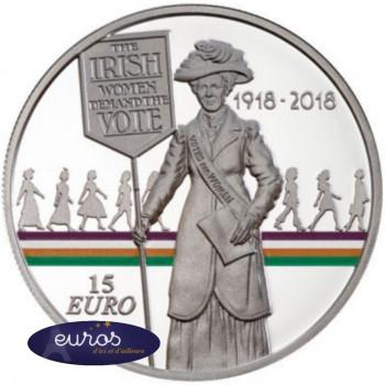 15 euros IRLANDE 2018 - Centenaire du Droit de Vote des Femmes - Argent 925‰