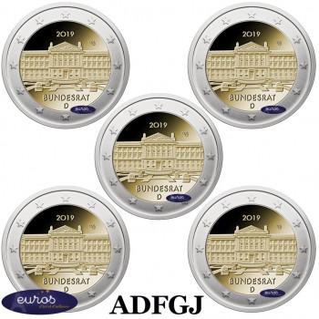 5 x 2 euros commémoratives ALLEMAGNE 2019 - 70ème anniversaire du Bundesrat allemand - ADFGJ
