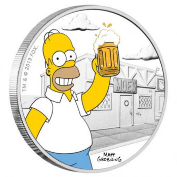 TUVALU 2019 - 1 dollar TVD - Les Simpsons™, Homer - 1 oz argent 999‰ - BE