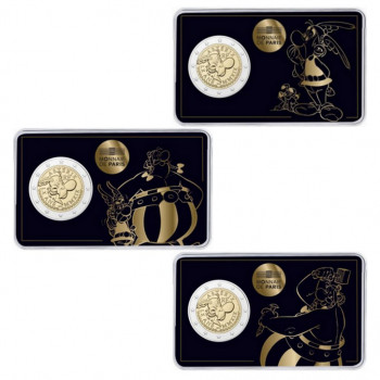 3 x coincards 2 euros commémoratives FRANCE 2019 - Astérix - Obélix et Idéfix - Brillant Universel