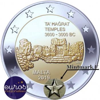 "2 euros commémorative BU Malte 2019 - Ta'Hagrat avec différent "" F """