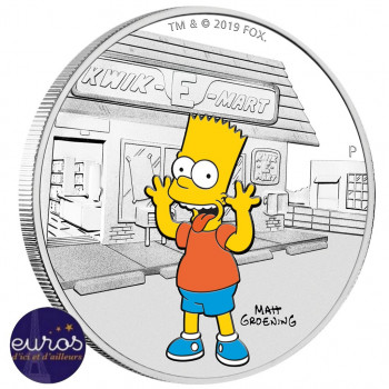 TUVALU 2019 - 1 dollar TVD - Les Simpsons™, Bart Simpson™ - 1 oz argent 999‰