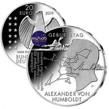 20 euros ALLEMAGNE 2019 - Alexander Von Humboldt - Ag 925 ‰