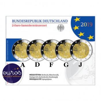 Coffret / Set BE 5 x 2 euros commémoratives ALLEMAGNE 2019 - Chute du Mur de Berlin - ADFGJ - Belle Epreuve