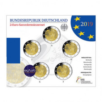 Set BU 5 x 2 euros commémoratives ALLEMAGNE 2019 - Mur de Berlin - ADFGJ - Brillant Universel