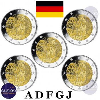 5 x 2 euros commémoratives ALLEMAGNE 2019 - Mur de Berlin - ADFGJ