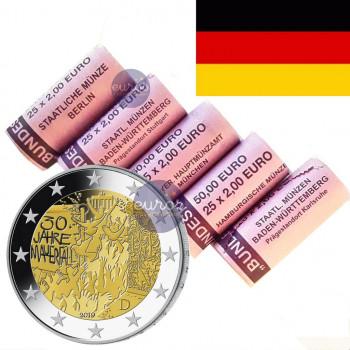 5 x rouleau 2 euros commémoratives ALLEMAGNE 2019 - Mur de Berlin - ADFGJ