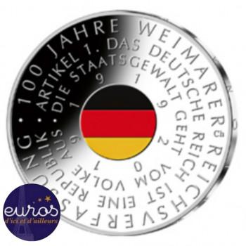 20 euros ALLEMAGNE 2019 colorisée - 100 ans de la Constitution Impériale de Weimar - Ag 925 ‰