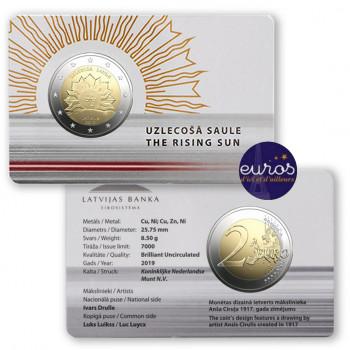Coincard 2 euros commémorative LETTONIE 2019 - Soleil Levant - BU