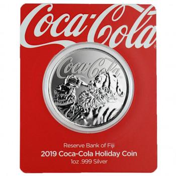 ILES FIDGI 2019 - 1$ - Coca-Cola® - Santa Claus - Argent 1oz - sous coincard