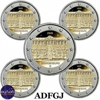 5 x 2 euros commémoratives ALLEMAGNE 2020 - Brandebourg, Le Palais de Sanssouci - ADFGJ - UNC