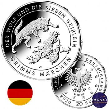 20 euros ALLEMAGNE 2020 - Contes de Grimm's -  Le Loup et les Sept Petites Chèvres - Ag 925‰
