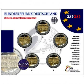 Set BU 5 x 2 euros commémoratives ALLEMAGNE 2020 - Brandebourg, Le Palais de Sanssouci - ADFGJ - Brillant Universel