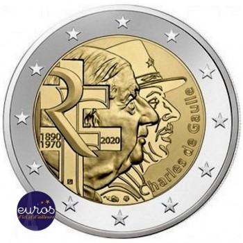Rouleau 25 x 2 euros commémoratives FRANCE 2020 - Charles de Gaulle - UNC