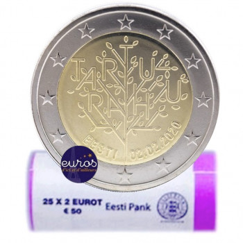 Rouleau 25 x 2 euros commémoratives ESTONIE 2020 - 100 ans du Traité de Paix de Tartu - UNC