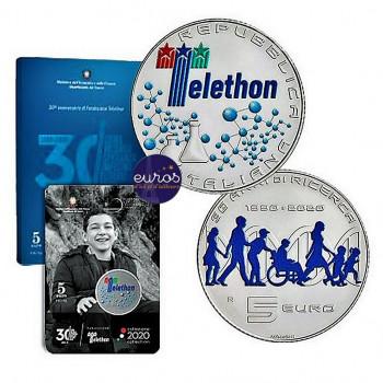 5 euros commémorative ITALIE 2020 - 30ème anniversaire Fondation Téléthon - Argent 925‰
