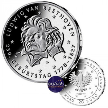 20 euros ALLEMAGNE 2020 - 250ème anniversaire de Ludwig van BEETHOVEN - Ag 925‰