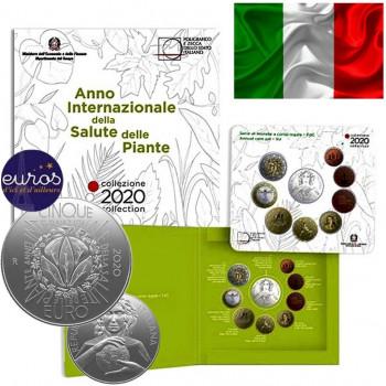 Set BU ITALIE 2020 - Année Internationale de la Santé des Végétaux - 1 cent à 2€ + 5€ Argent