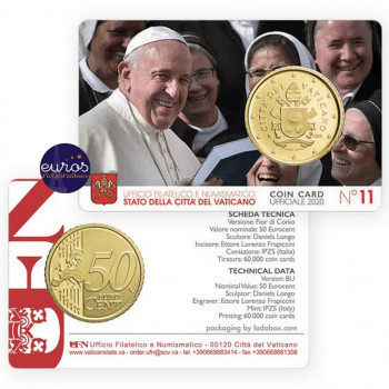 Coincard 0,50€ BU VATICAN 2020 n°11 - Le Saint Père