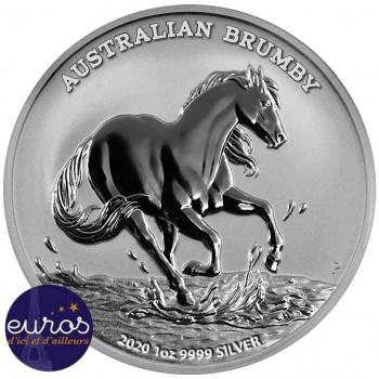 AUSTRALIE 2020 - 1$ AUD - Brumby australien - 1 oz argent 999,99‰