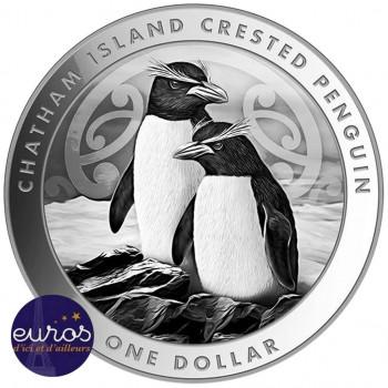NOUVELLE-ZELANDE 2020 - 1$ NZD - Pingouin Huppé - Ile de Chatham - 1 oz argent 999,99‰
