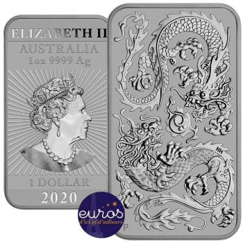 AUSTRALIE 2020 - 1$ AUD - Le Dragon Chinois, rectangulaire - 1 oz argent 999,99‰ - Bullion