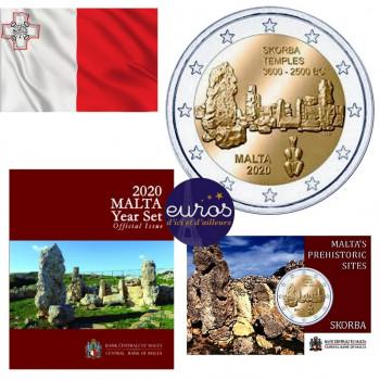 Trio MALTE 2020 Skorba - Set BU 9 pièces + coincard 2€ (Mintmark MdP) + 2€ commémorative UNC
