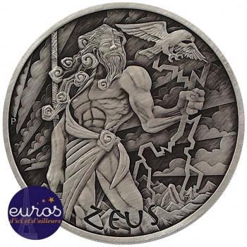 TUVALU 2020 - 1$ TVD - Dieux de l'Olympe : Zeus - 1 oz argent 999‰ - Finition Antique (n°1)