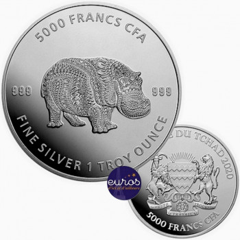 TCHAD 2020 - Mandala Hippopotame - Mandala Wildlife - 1oz argent (4)