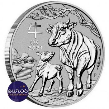 AUSTRALIE 2021 - 2$ AUD - L'Année du Boeuf - 2oz argent - Bullion