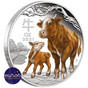 AUSTRALIE 2021 - 1$ AUD - L'Année du Boeuf colorisée- 1oz argent - Belle Epreuve