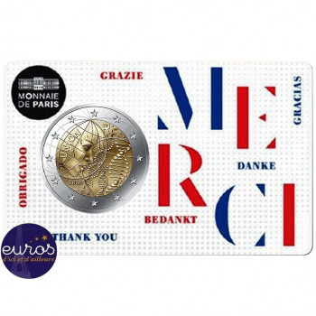 Coincard 2 euros commémorative FRANCE 2020 - Merci - Brillant Universel