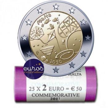 Rouleau 25 x 2 euros commémorative MALTE 2020 - Jeux - UNC