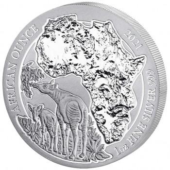 RWANDA 2021 - African Once, Okapi - 1 Oz Argent 999,99‰ - Bullion Coin
