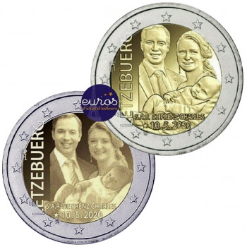 2 x 2 euros commémoratives LUXEMBOURG 2020 - Naissance Prince Charles - Relief + Photo - UNC